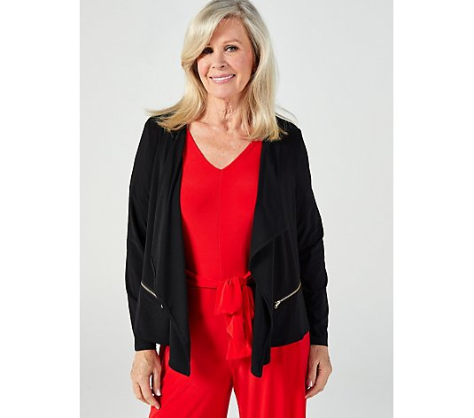 Long Sleeve Waterfall Front Cardigan with Faux Zip pockets by Nina Leonard