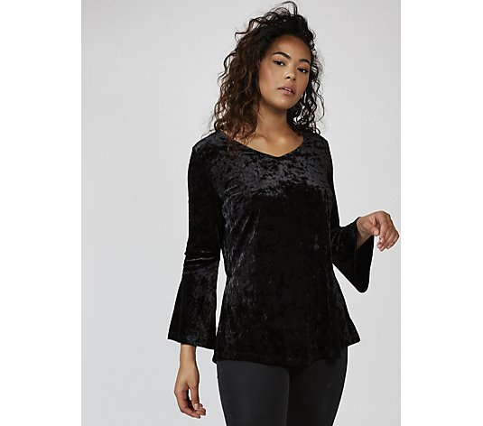 Outlet Isaac Mizrahi Live V Neck Velvet Top with Long Fluted Sleeves