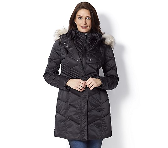 Centigrade Coat with Fooler & Detachable Faux Fur Trim Hood