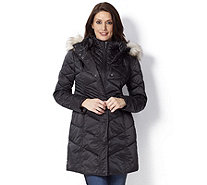 Centigrade Coat with Fooler & Detachable Faux Fur Trim Hood - 156097