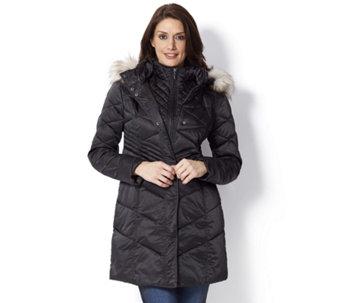 4876909b4bfd4 Centigrade Coat with Fooler   Detachable Faux Fur Trim Hood - 156097
