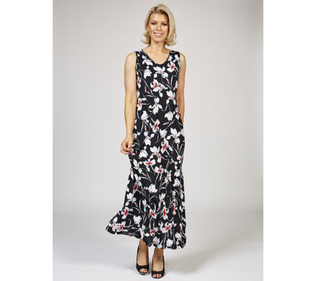 Kim & Co Venechia Iris Flowers Sleeveless Maxi Dress