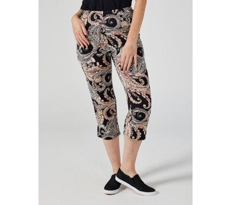 Paisley Swirl Print Crop Trousers by Michele Hope