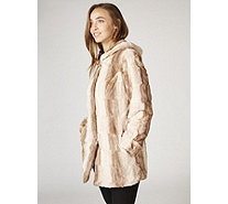 Dennis Basso Hooded Chinchilla Faux Fur Drawstring Waist Coat - 167097
