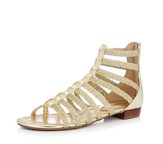 Outlet Marc Fisher Pepita Zip Back Flat Gladiator Sandal with Straps