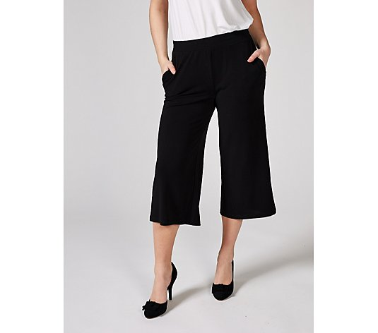 Stretch Crepe Gaucho Trousers with Elasticated Waist by Nina Leonard