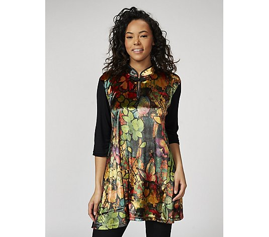 Butler & Wilson Chinese Neck Butterfly Print Top