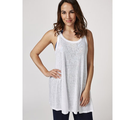 Kim & Co Holiday Linen Look Sleeveless Long Tunic