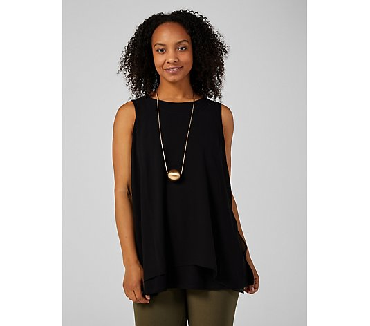 WynneLayers Scoop Neck Chiffon Side Split Tank