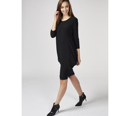 Scoop Neck Side Draped Jersey Dress Petite by Nina Leonard