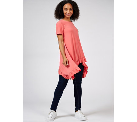 Short Sleeve Scoop Neck Tunic with Ruffle Hem by Nina Leonard