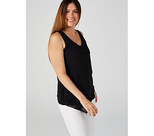 Sleeveless V Neck Top with Chiffon by Nina Leonard