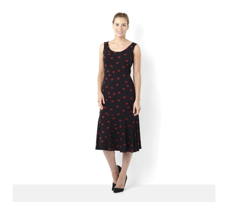 Attitudes by Renee Lips Print Sleeveless Dress