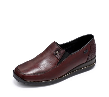Rieker Leather Slip On Shoe with Contrast Tab & Stitch Detail
