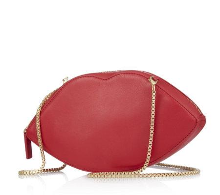 f5482ada6a19e Lulu Guinness Lips Shape Smooth Leather Crossbody Bag - QVC UK