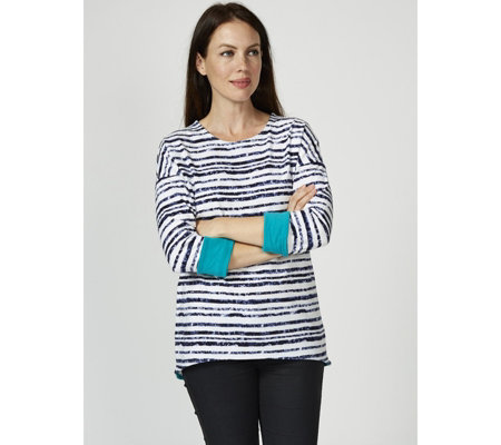 Women with Control Striped Dropped Shoulder Top with Contrast Cuff