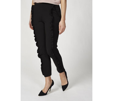 Skinny Leg Crepe Trousers with Ruffle Detail by Nina Leonard