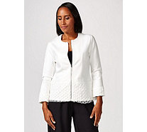 Andrew Yu Zip Up Jacket with Lace Trim Detail - 173298