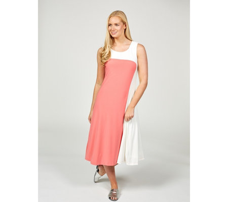 Sleeveless Colourblock Midi Dress by Nina Leonard