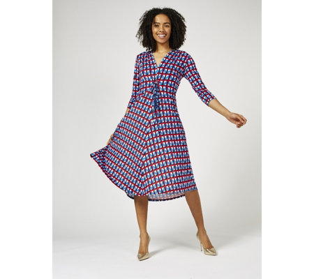 Amy 3/4 Sleeve Hi Low Hem Printed Dress by Onjenu London