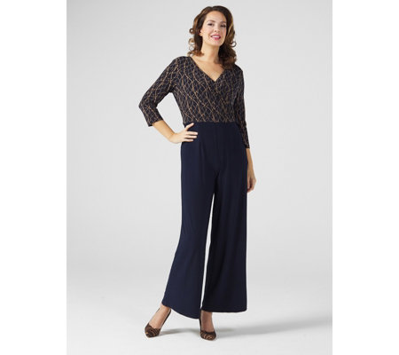 3/4 Sleeve Side Tie Palazzo Jumpsuit with Printed Top by Nina Leonard
