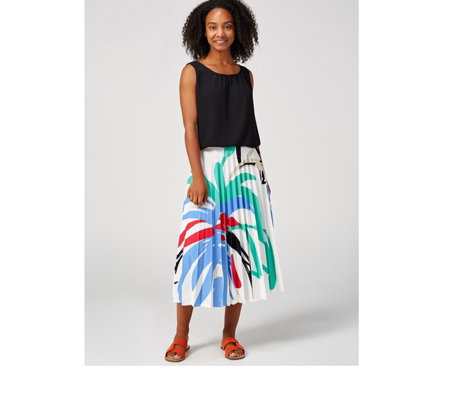 Ben de Lisi Stretch Crepe Pleated Skirt