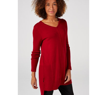 V Neck Long Sleeve Knit Tunic With Ribbing Detail by Nina Leonard