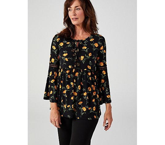 Long Sleeve Printed Top With Trim Detail by Nina Leonard