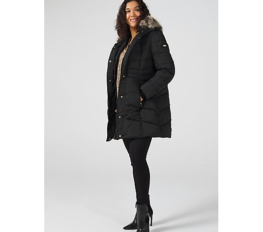 Centigrade Faux Down Coat with Fooler & Zip Off Faux Fur on Attached Hood