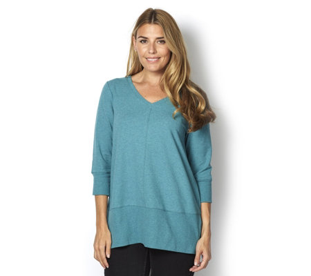 H by Halston 3/4 Sleeve Oversize Baby French Terry Pullover