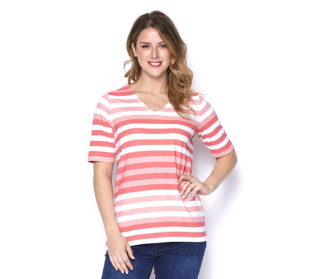Denim & Co. Perfect Jersey Elbow Sleeve V Neck Striped Top