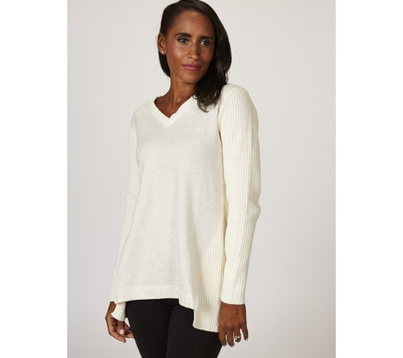H by Halston French Terry & Sweater Mix Pullover