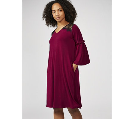 3/4 Bell Sleeve Moss Crepe Trapeze Dress with Ruffle Detail by Nina Leonard