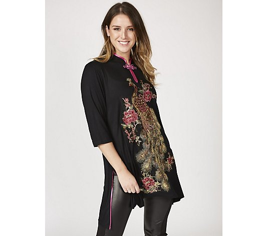 Butler & Wilson Sequin Peacock Chinese Neck Top