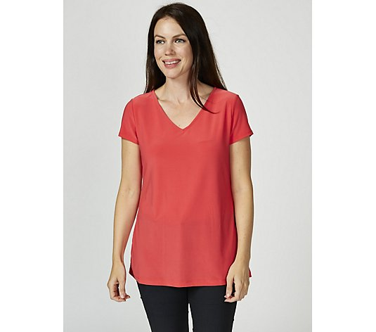 Attitudes by Renee Short Sleeve V-Neck Top