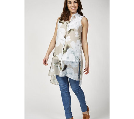 Sleeveless Printed Chiffon Tunic Shirt with Hi Lo Hem by Nina Leonard