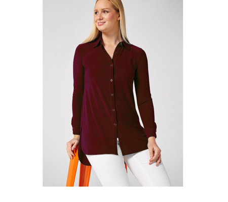 Button Jersey Long Line Shirt by Nina Leonard