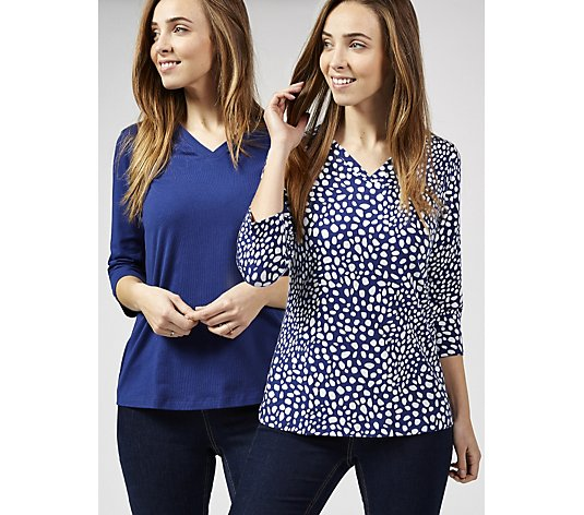 Denim & Co. Perfect Jersey Set of Two V Neck Tops