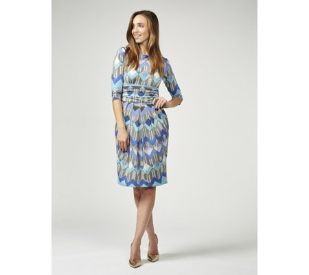 Sydney 3/4 Sleeve Printed Dress by Onjenu London