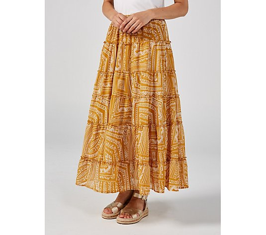 Antthony Designs Printed Chiffon Tiered Maxi Skirt