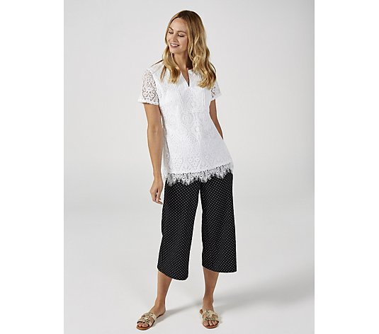 Isaac Mizrahi Live Short Sleeve Lace V Neck Top