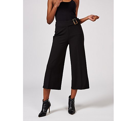 High Tech Crepe Wide Leg Cropped Trousers by Nina Leonard