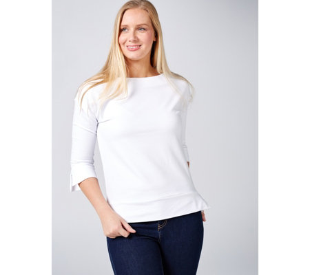 Ben de Lisi Boat Neck Sweater with Vented Sleeves