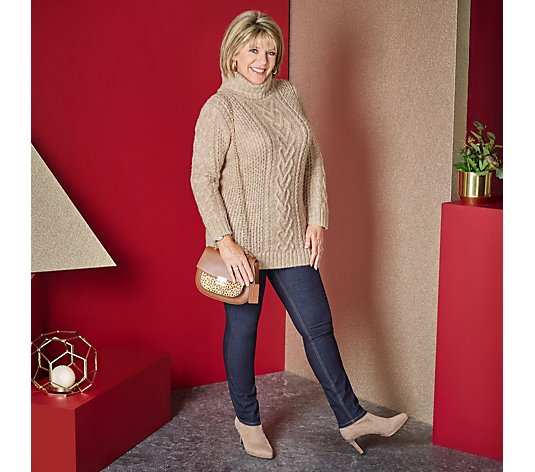 Ruth Langsford Chunky Cable Knit Jumper with Roll Neck
