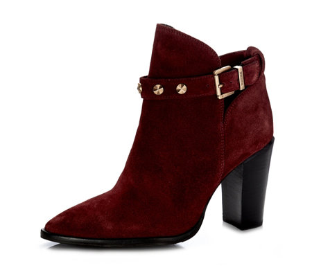 Bronx Pointed Ankle Boot with Studded Buckle Detail