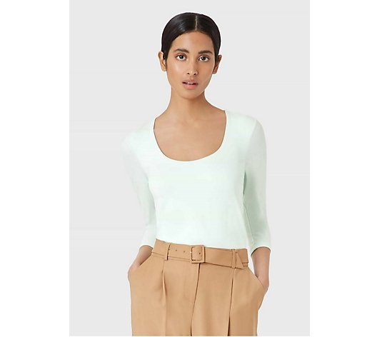 Hobbs London Daisy Scoop Neck Plain Jersey Top