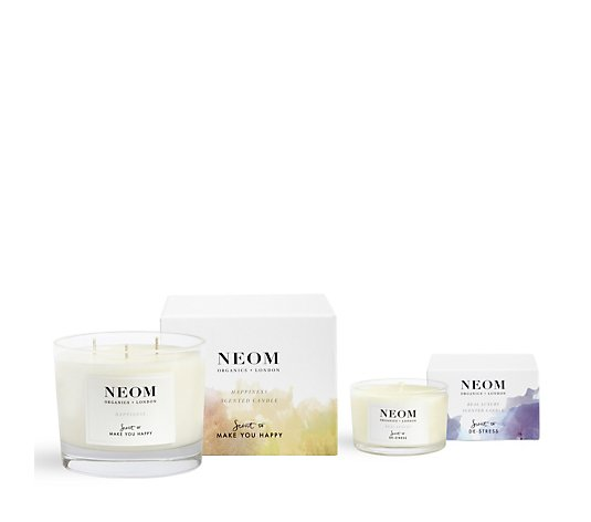 Neom Happiness Three Wick Candle & Real Luxury Travel Candle