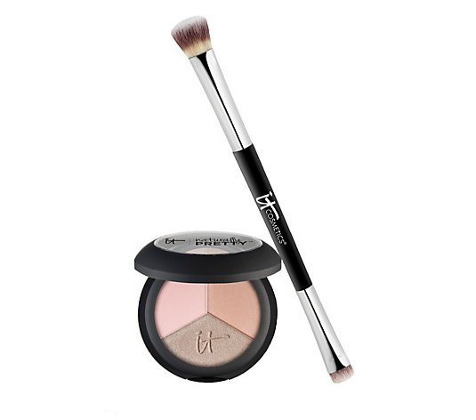 IT Cosmetics Naturally Pretty Eyeshadow Trio & Heavenly Luxe Dual-Ended Brush