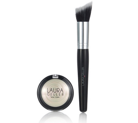Laura Geller Baked Gelato Swirl Illuminator in Diamond Dust 4.5g & Brush