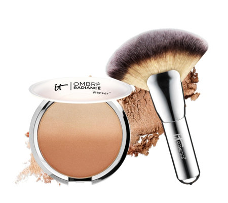 IT Cosmetics CC Anti-Ageing Ombre Radiance Bronzer & Luxe Mega Fan Brush